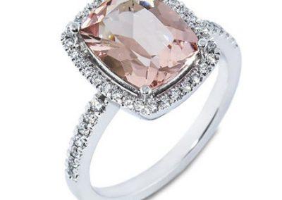 Morganite Haloe Ring