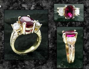 Engraved Rubelite Ring