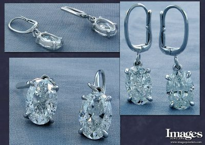 3Carat Oval Diamond Earrings