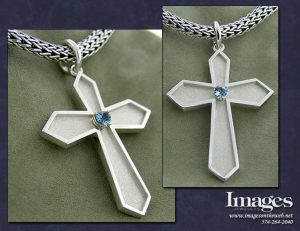 Aquamarine Cross Pendant