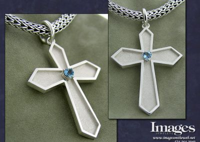 Aquamarine Cross Pendant