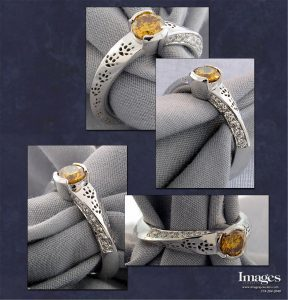 Orange Diamond Fox Ring