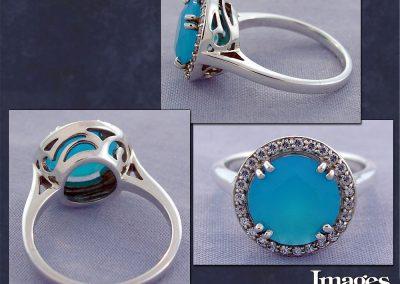 Peruvian Opal Halo Ring