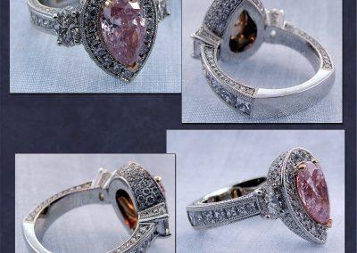 Custom Pink Diamond Halo Ring