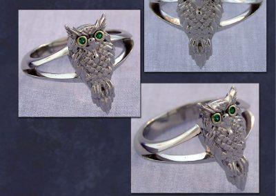 Platinum Owl Ring