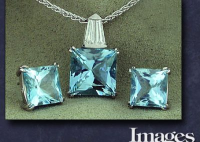 Custom Aquamarine Pendant and Earrings