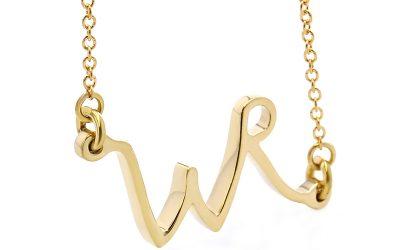 WR Gold Script Pendant