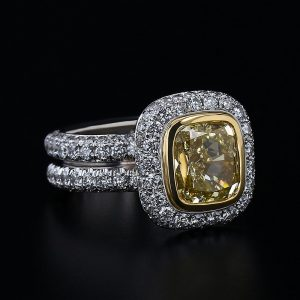 3.03ct Yellow Diamond Pave Ring