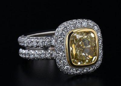 3.03ct Yellow Diamond Pave Ring