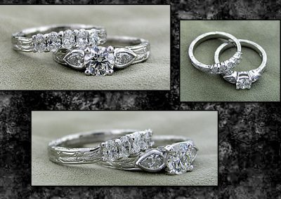 Hand Engraved Pear and Oval Wedding Set