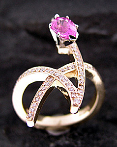 Pink Sapphire and Pave Star Ring