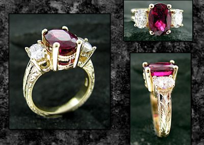 Hand Engraved Rubelite Ring