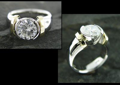 Two Tone V-Bezel Ring