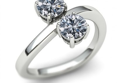 Two Stone Diamond Bypass Ring
