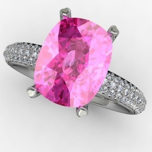 Pink Sapphire Custom Engagement Ring