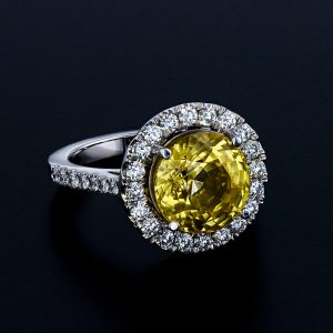 Yellow Sapphire French Pavé Ring