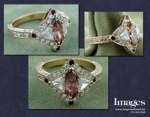 Orange - Pink Diamond Mother's Ring