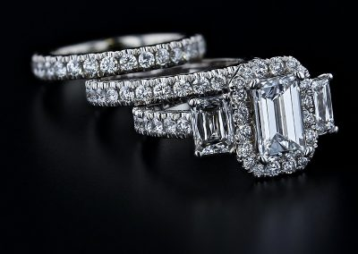 3 Stone Emerald Wedding Ring Set