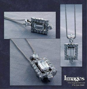 Emerald Cut Halo Pendant