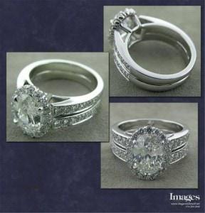 Platinum Oval Halo Ring