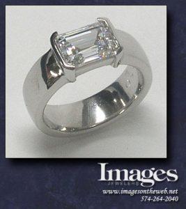 East West Emerald Cut Ring