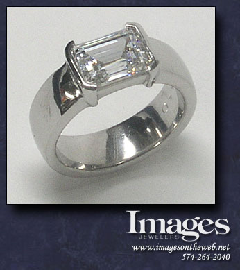 East West Emerald Cut Ring