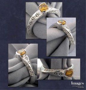 Orange diamond fox ring