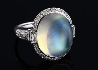 Moonstone Halo Ring