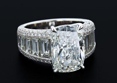 7 carat cushion cut ring