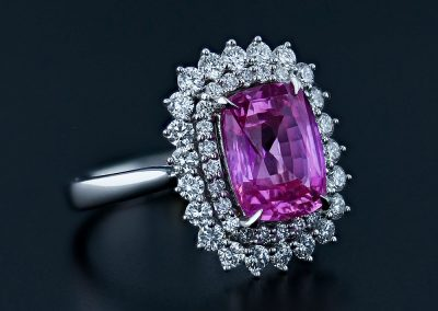 Pink Sapphire Double Halo Ring