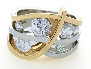 Two Tone Diamond Channels Ring