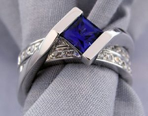 Inter-locking Sapphire Wedding Set