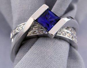 Inter-locking Sapphire Wedding Set