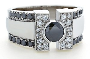 Black and White Mens Diamond Ring