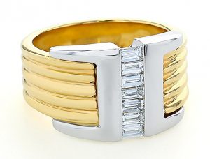 Two Tone Gent's Baguette Ring