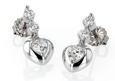 3ct Heart Earrings
