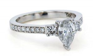Diamond 3 stone pear engagement ring