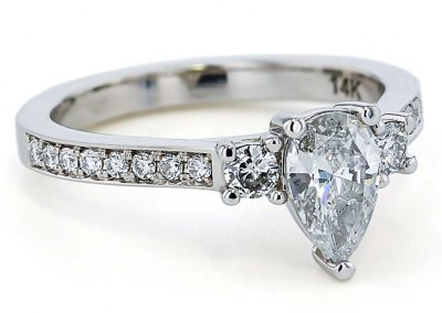 Diamond 3 stone pear engagement ring