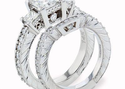 Hand Engraved Wedding Set