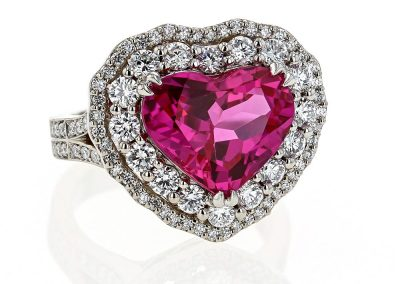 Pink Sapphire Double Heart Halo