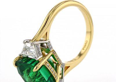 3 Stone Tsavorite Ring