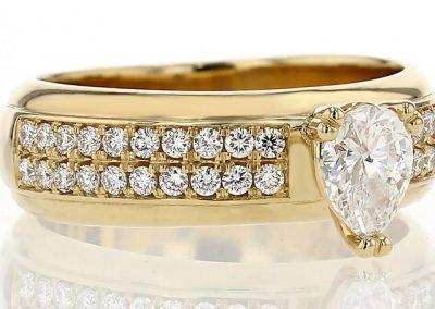 Double Row Pear Diamond Ring